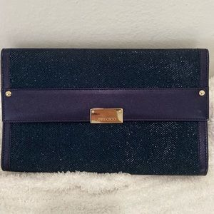 NWT Jimmy Choo Navy Reese Metallic Glitter Clutch